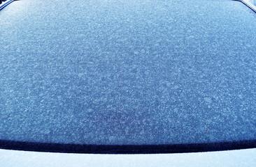 frozen car windshield in winter