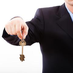 Key in hand businessman.