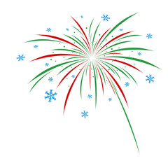 Christmas firework design on white background