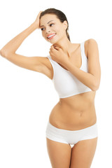 Slim woman posing in underwear