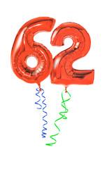 Rote Luftballons mit Geschenkband - Nummer 62