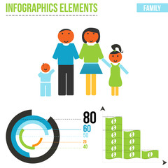 Vector family elements for infographics