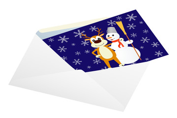 Christmas card in an envelope.
