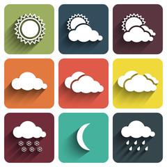Flat design weather icons set on tiles