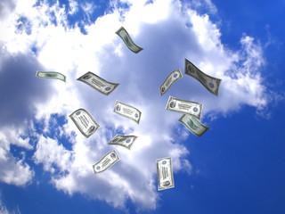 American dollars flying in the sky