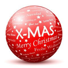 X-MAS, Merry Christmas, Ball, Sphere, Texture, red, Greeting, 3D