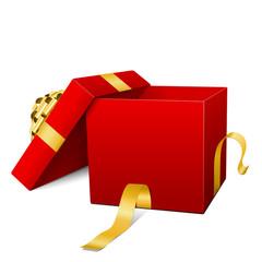 Geschenkpaket, offener Deckel, geöffnet, goldene Schleife, Rot