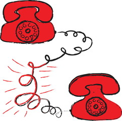 doodle red-hot relationship, red phone