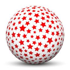 Weiße Kugel, Sterne, Textur, bedruckt, Texture, Ball, Sphere, 3D