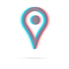 Map pointer anagliph icon with shadow