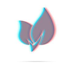 Eco leaf anagliph icon with shadow
