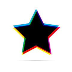 Star flat icon with shadow. CMYK offset effect