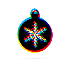 Christmas ball with snowflake flat icon with shadow. CMYK offset