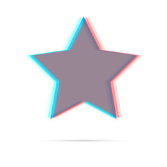Star anagliph flat icon