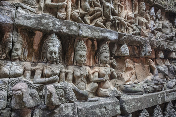wall statue of God inside the Angkor Wat at Siem Reap, Cambodia
