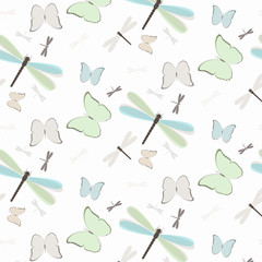 Seamless pattern with dragonflies and butterflies