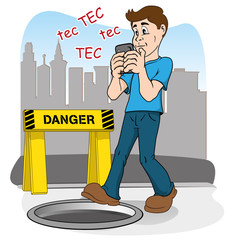 Inattentive person walking by smart phone. risk of falling
