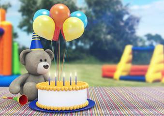 Toy Bear Celebrating its Birthday