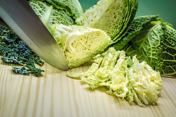 Sliced savoy cabbage