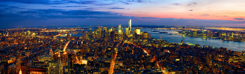 Aerial panoramic view of Manhattan at dusk, New York City