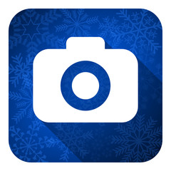 photo camera flat icon, christmas button, photography sign