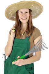 Weiblicher Gärtner mit Garten-Werkzeugen