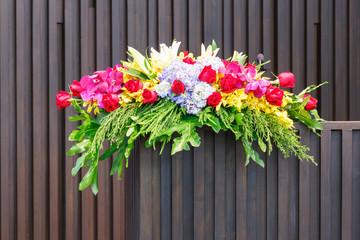 Flower bouquet on podium