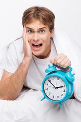 Young man overslept
