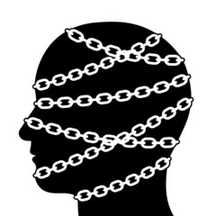 Silhouette Head Isolated with Chains