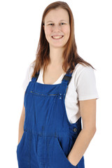 Freundliche Frau ist Handwerker im Blaumann
