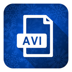 avi file flat icon, christmas button