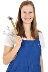 Handwerker im Blaumann mit Werkzeugen
