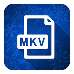 mkv file flat icon, christmas button