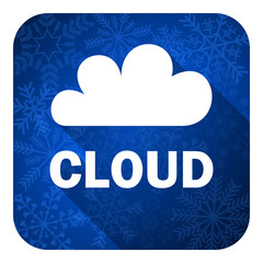 cloud flat icon, christmas button