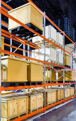 Cargo box on steel shelf system in warehouse