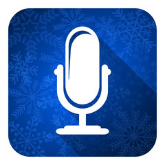 microphone flat icon, christmas button, podcast sign