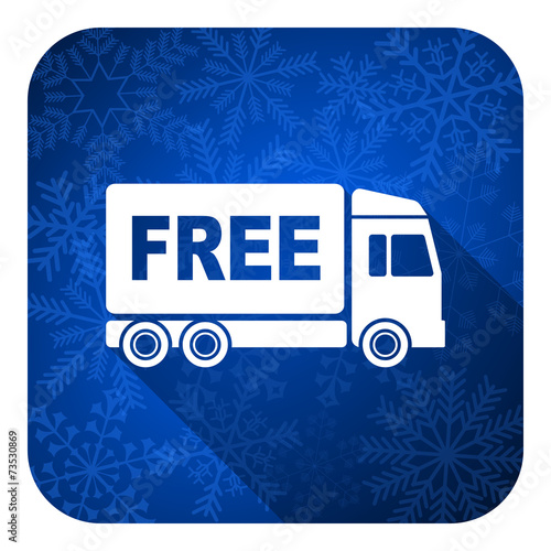 canvas print picture free delivery flat icon, christmas button, transport sign