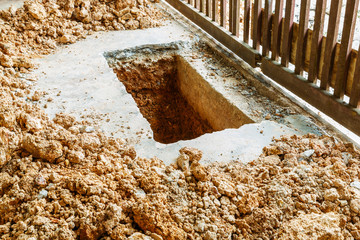 Digging hole on concrete floor