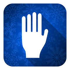 stop flat icon, christmas button, hand sign