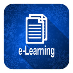learning flat icon, christmas button