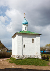 white orthodox chapel Korsun Mother of God
