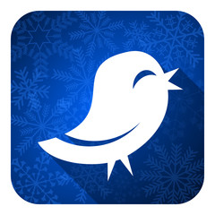 twitter flat icon, christmas button