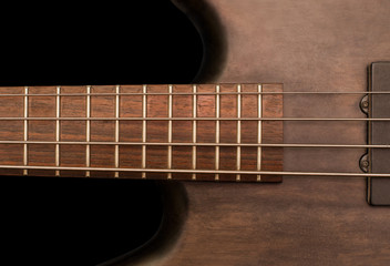 Detail of a bass guitar
