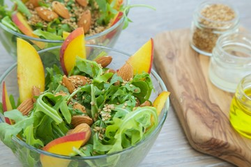 Vitamin salad- rucola with nuts and fruits