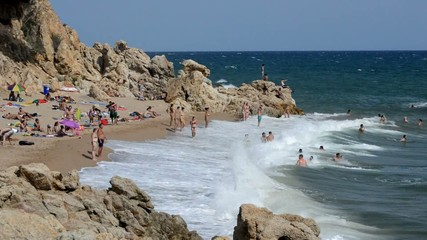 People Beach Waves