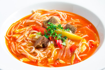 red rice noodle soup