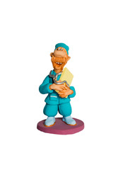Statuette cheerful mustachioed doctor