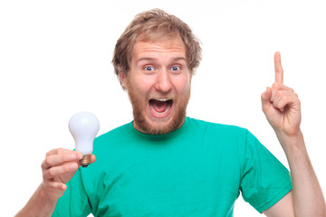 Happy bearded man with Idea and bulb