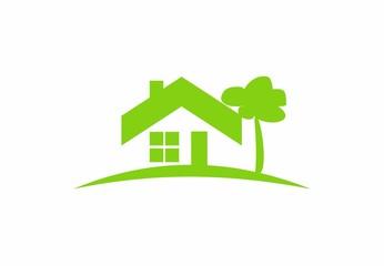 green  logo house, abstract home, real estate, vector icon