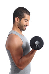 Profile of an arab sports man lifting weights